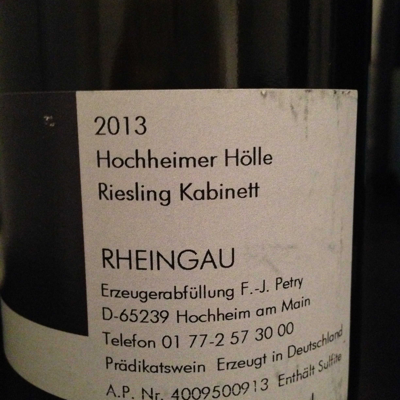 Lindenhof Weingut Petry 2013 Hochheimer Hölle Riesling Kabinett