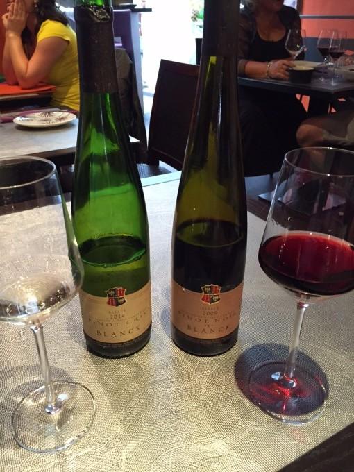 """Blanck Pinot Gris 2014 und Pinot Noir """"F"""" gabs zum Fleisch..."""